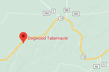 A map showing the location of Dogwood Tabernacle